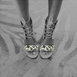 URGE White Leopard Print Lace-Up Chunky Heels